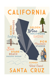 Santa Cruz, California - Typography and Icons Poster by  Lantern Press