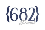 Fort Worth, Texas - 682 Area Code (Blue) Prints by  Lantern Press