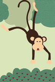 Simple Monkey - Green Print by  Lantern Press
