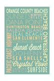 Orange County Beaches, California - Typography Prints by  Lantern Press