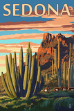 Sedona, Arizona - Organ Pipe Cactus Poster av  Lantern Press