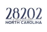 Charlotte, North Carolina - 28202 Zip Code (Blue) Print by  Lantern Press