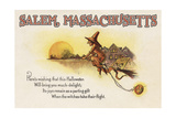 Salem, Massachusetts - Halloween Joys - Witch on Broom - Vintage Artwork Prints by  Lantern Press