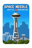 Seattle, Washington - Space Needle - 8 Bit Prints by  Lantern Press