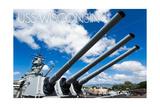USS Wisconsin - Guns View Poster by  Lantern Press