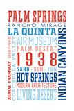 Palm Springs, California - Typography (Reds and Blues) Poster by  Lantern Press