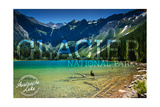 Glacier National Park, Montana - Avalanche Lake (Stamp Version) Print by  Lantern Press