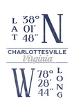 Charlottesville, Virginia - Latitude and Longitude (Blue) Posters by  Lantern Press