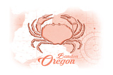 Bandon, Oregon - Crab - Coral - Coastal Icon Prints by  Lantern Press