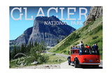 Glacier National Park, Montana - Going-to-the-Sun Road and Red Bus Posters by  Lantern Press