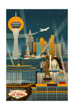 Las Vegas, Nevada - Retro Skyline (no text) Prints by  Lantern Press