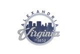 Alexandria, Virginia - Skyline Seal (Blue) Prints by  Lantern Press