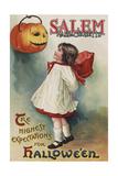 Salem, Massachusetts - Halloween Greeting - Girl in Red and White - Vintage Artwork Art by  Lantern Press