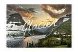 Glacier National Park, Montana - Hidden Lake and Bearhat Mountain - Badge Prints by  Lantern Press