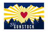 Ski Gunstock - Heart and Treeline Prints by  Lantern Press