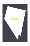 Nevada - Home State - White on Gray Poster by  Lantern Press