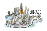 Chicago, Illinois - Cityscape - Line Drawing Prints by  Lantern Press