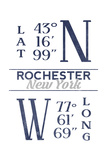 Rochester, New York - Latitude and Longitude (Blue) Prints by  Lantern Press