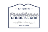 Providence, Rhode Island - Now Entering (Blue) Art by  Lantern Press