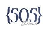 Albuquerque, New Mexico - 505 Area Code (Blue) Prints by  Lantern Press