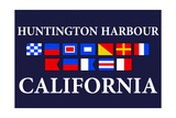 Huntington Harbour, California - Nautical Flags Poster by  Lantern Press