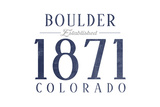 Boulder, Colorado - Established Date (Blue) Prints by  Lantern Press