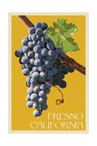 Fresno, California - Grapes - Letterpress Art by  Lantern Press