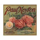 Paul Neyron Brand- La Verne, California - Citrus Crate Label Premium Giclee Print by  Lantern Press