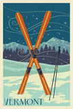 Vermont - Crossed Skis - Letterpress Prints by  Lantern Press