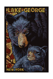 Lake George, New York - Black Bears - Paper Mosaic Art by  Lantern Press
