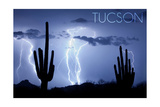 Tucson, Arizona - Blue Sky and Lightning Posters by  Lantern Press