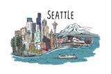 Seattle, Washington - Cityscape - Line Drawing Posters by  Lantern Press