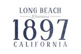 Long Beach, California - Established Date (Blue) Art by  Lantern Press