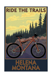 Helena, Montana - Mountain Bike Scene - Ride the Trails Posters by  Lantern Press