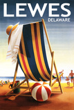Lewes, Delaware - Beach Chair and Ball Prints by  Lantern Press