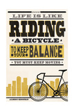 Life is Like Riding a Bicycle - Screenprint Style - Albert Einstein Print by  Lantern Press