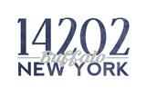 Buffalo, New York - 14202 Zip Code (Blue) Poster by  Lantern Press