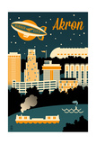 Akron, Ohio - Retro Skyline Posters by  Lantern Press