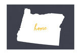 Oregon - Home State- White on Gray Posters by  Lantern Press