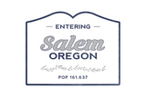 Salem, Oregon - Now Entering (Blue) Posters by  Lantern Press