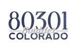 Boulder, Colorado - 80301 Zip Code (Blue) Poster by  Lantern Press