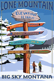 Big Sky, Montana - Lone Mountain - Ski Signpost Print by  Lantern Press