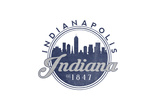 Indianapolis, Indiana - Skyline Seal (Blue) Prints by  Lantern Press