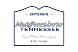 Murfreesboro, Tennessee - Now Entering (Blue) Prints by  Lantern Press