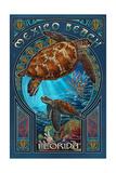 Mexico Beach, Florida - Sea Turtle Art Nouveau Prints by  Lantern Press