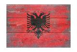 Albania Country Flag - Barnwood Painting Prints by  Lantern Press
