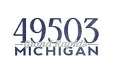 Grand Rapids, Michigan - 49503 Zip Code (Blue) Prints by  Lantern Press