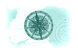Compass - Teal - Coastal Icon Prints by  Lantern Press