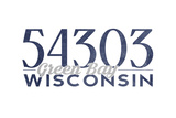 Green Bay, Wisconsin - 54303 Zip Code (Blue) Posters by  Lantern Press