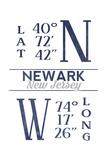 Newark, New Jersey - Latitude and Longitude (Blue) Prints by  Lantern Press